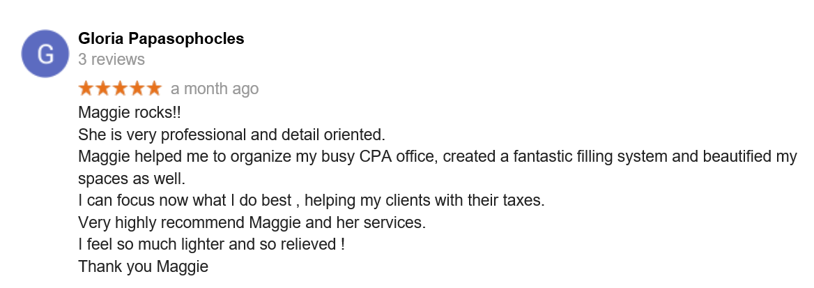 Testimonials - Maggie's Organizing and Staging
